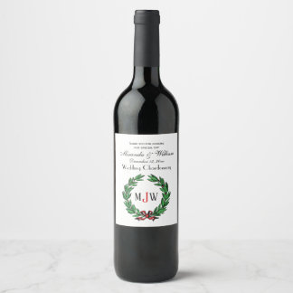 Festive Christmas Xmas Holly Wreath Monogram Wine Label