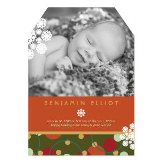 Festive Circles Holiday Photo Birth Announcement