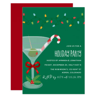 Festive cocktail themed Christmas Party Invitation