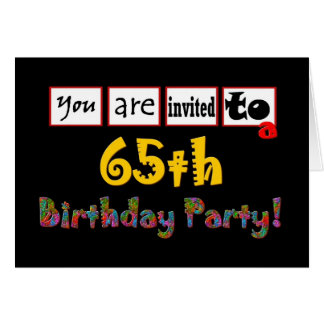 Festive & Colorful 65th Birthday Party Invitation