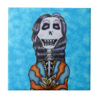 Festive Colorful Day of Dead Female Skeleton Aqua Tile