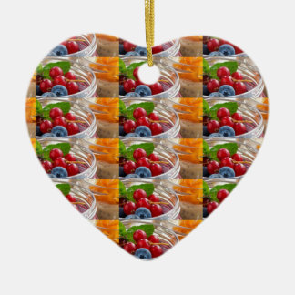 Festive colorful fruits background festivals gifts ceramic heart ornament