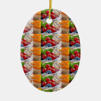 Festive colorful fruits background festivals gifts ceramic oval ornament