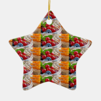 Festive colorful fruits background festivals gifts ceramic star ornament