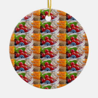 Festive colorful fruits background festivals gifts round ceramic ornament