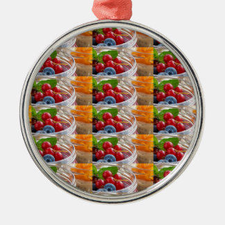 Festive colorful fruits background festivals gifts Silver-Colored round ornament