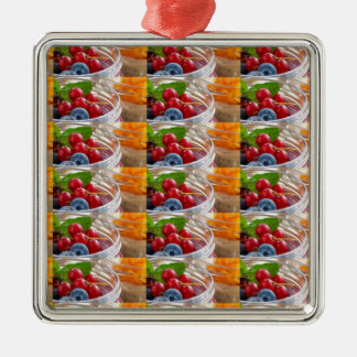 Festive colorful fruits background festivals gifts Silver-Colored square ornament