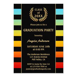 Festive Colourful Striped Graduation Invitation