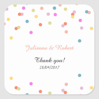 Festive Confetti Wedding Thank You Favor Sticker