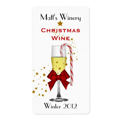 Festive Custom Holiday Wine Labels