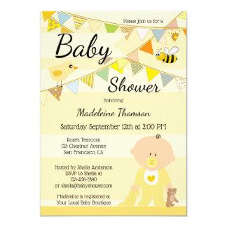 Festive Cute Yellow Baby Shower Invitation