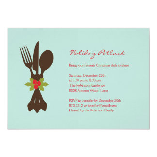 Festive Cutlery Holiday Party Invitation