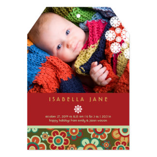 Festive Daisies Holiday Photo Birth Announcement