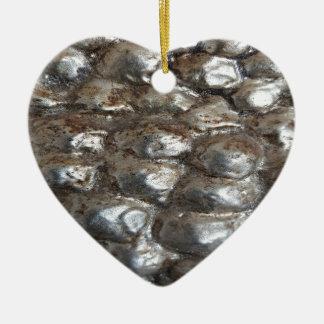 Festive Dark Silver Metallic Abstract Art Ceramic Heart Ornament