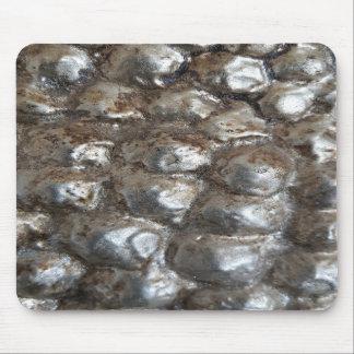 Festive Dark Silver Metallic Abstract Art Mouse Pad