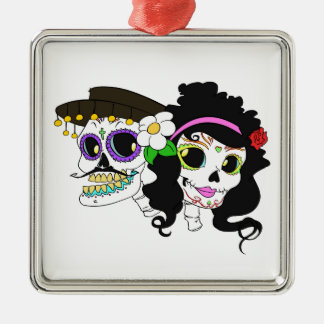 Festive Day of the Dead Art Silver-Colored Square Ornament