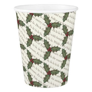 Festive Deck the Halls Christmas Paper Cups