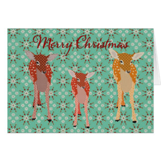 Festive Deer Family Christmas Greeting Greeting Card
