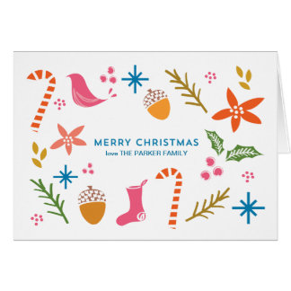 Festive Doodles Merry Christmas Greeting Card