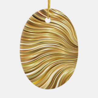 Festive Elegant  Gold Abstract Flowing Stripes Ceramic Oval Ornament