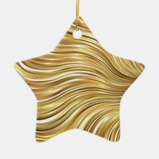 Festive Elegant  Gold Abstract Flowing Stripes Ceramic Star Ornament
