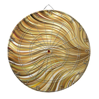 Festive Elegant  Gold Abstract Flowing Stripes Dartboards