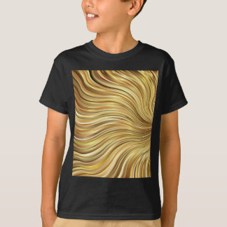 Festive Elegant  Gold Abstract Flowing Stripes T-Shirt