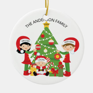 Festive Family of 3 Personalized Christmas Round Ceramic Ornament