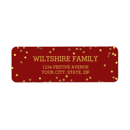 Festive Faux Gold Foil Confetti Red