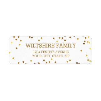 Festive Faux Gold Foil Confetti White Return Address Label