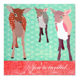 """Festive Fawn Family Turquoise Red 5.25"""" Square Invitation Card"""