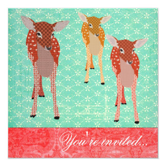 """Festive Fawn Friends Turquoise Red 5.25"""" Square Invitation Card"""