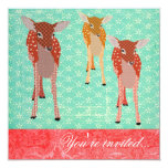 Festive Fawn Friends Turquoise Red Custom Announcement