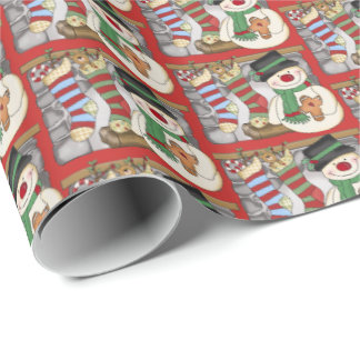 Festive fireplace snowman Christmas tiled wrap Wrapping Paper