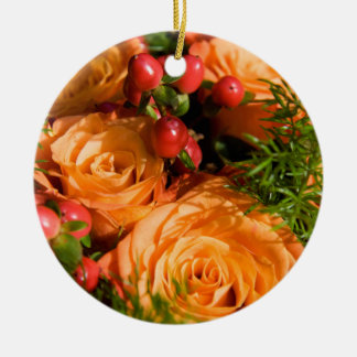 Festive Floral Arrangement Ceramic Ornament