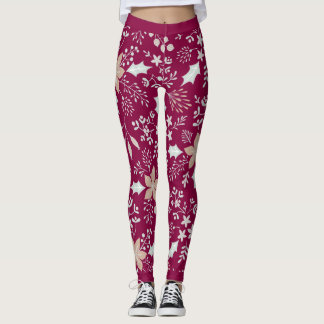 Festive Floral Botanical Holiday Leggings