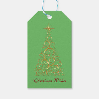 Festive Flourish Gold Christmas Tree Gift Tags