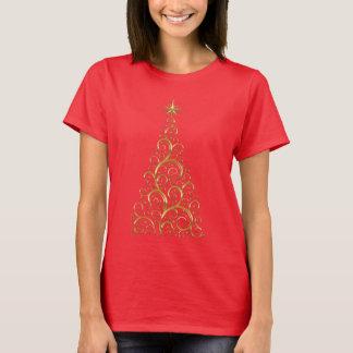 Festive Flourish Gold Christmas Tree T-Shirt