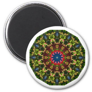 Festive Flowers Nature, Flower Mandala 2 Inch Round Magnet