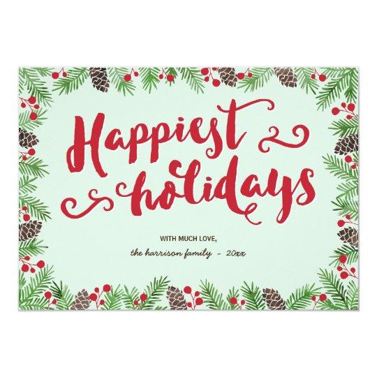 Festive Foliage | Calligraphy Holiday Non-Photo Card