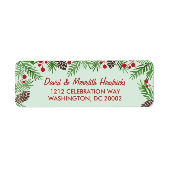 Festive Foliage | Calligraphy Holiday Return Address Label