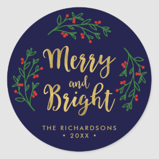 Festive Foliage Merry and Bright Holiday Classic Round Sticker