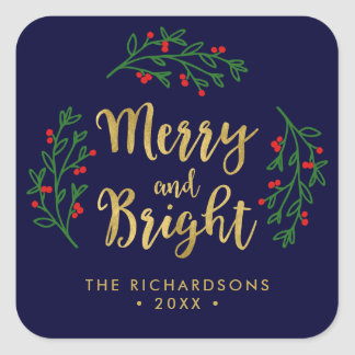 Festive Foliage Merry and Bright Holiday Square Sticker
