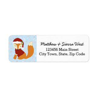Festive Fox Christmas Holiday Return Address Label