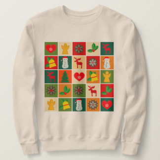 Festive Fun Cartoon Snowman Reindeer Holly Sweatshirt