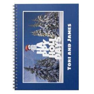 Festive Fun Snowman Photograph Frame Personalize Notebook