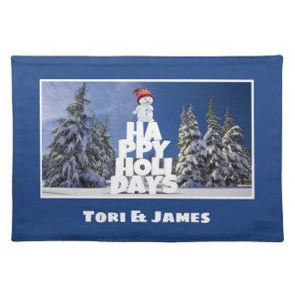 Festive Fun Snowman Photograph Frame Personalize Placemat