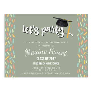Festive Funfetti 2017 Graduation Party Invite Postcard