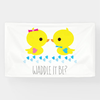 Festive Gender Reveal Yellow Duckies With Hearts Banner