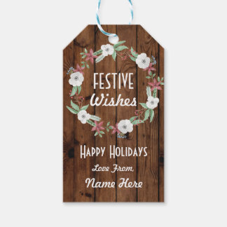 Festive Gift Tags Christmas Wood Wreath Merry Xmas
